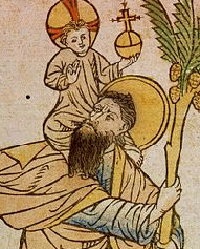 St. Christopher woodcut, 1423.