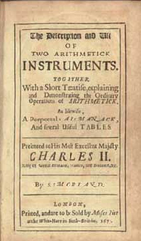 Title page of Samuel Morland's The Discription and Use of Two Arithmetick Instruments.