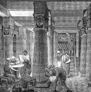 An artist's rendition of the Library of Alexandria