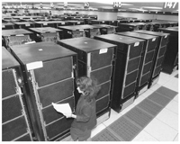A technician monitors IBM's ASCI White Supercomputer in 2000