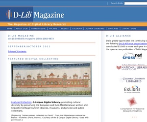 A screenshot of the D-Lib Magazine homepage