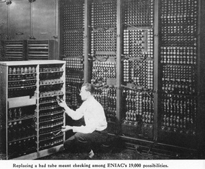 A technician replaces one of the ENIAC's 19,000 vaccum tubes