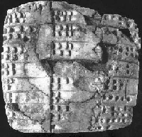 The world's oldest datable mathematical table, from Shuruppag, c. 2600 BCE.  The first two columns contain identical lengths in descending order from 600 to 60 rods (c. 3600–360 m) and the final column contains the square area of their product.