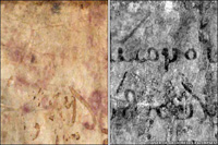 Scientists used advanced imaging technologing on the original parchment of the Archimedes Palimpsest (left) to reaveal hidden under-text (right)