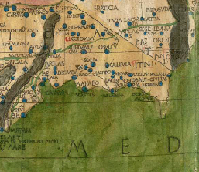 Detail of map from Ptolemy's Cosmographia showing the southeastern coast of Spain.  Click on the link to view and enlarge the entire page from the book.