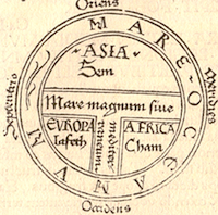 Earliest printed example of a classical T and O map (by Günther Zainer, Augsburg, 1472), illustrating the first page of chapter XIV of the Etymologiae of Isidore of Seville. It shows the continents as domains of the sons of Noah: Sem (Shem), Lafeth (Japheth) and Cham (Ham).