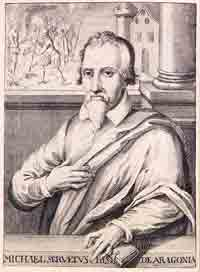 Engraved portrait of Michael Servetus.