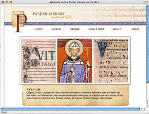 The Parker Library on the Web homepage