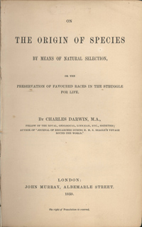 The title page of On the Origin of Species by Charles Darwin
