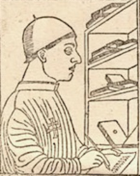 Detail from page of Breviarium (1479) printed by Pachel and Scinzenzeler depicting the author, Paulus Attavanti.