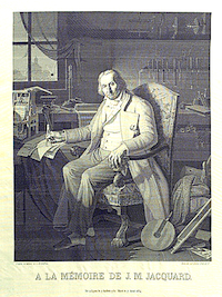 Portrait of Jacquard woven in silk on a Jacquard loom.