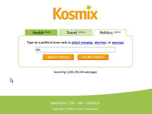 The original Kosmix.com search engine homepage