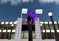 A player's avatar stands infront of the virtual campus of Coventry University in Second Life