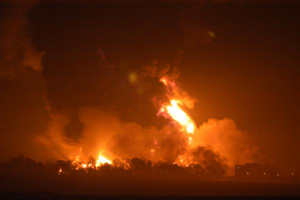 The Buncefield Fuel Depot fire, taken 10 minutes after the explosion