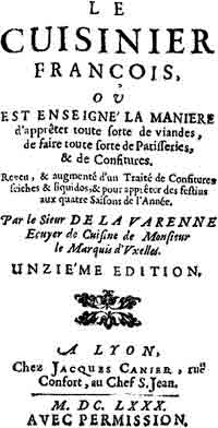 The title page of Le Cuisinier Francois, by Francois Pierre de La Varenne, 1680.