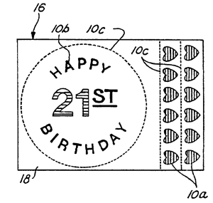 An image associated with U.S. Patent 6,319,530 depicting what could be printed onto a birthday cake using an inject printer and edible ink.