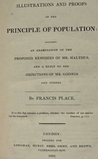 Title page of Illustrations and Proofs of the Principle of Population: Including an Examination of the Proposed Remedies of Mr. Malthus, and a Reply to the Objections of Mr. Godwin and Others.