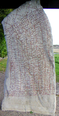 <p>The R&ouml;k Runestone, believed to be the earliest Sweedish writing, makes reference to Ostrogothic King, Theodoric the Great.</p>