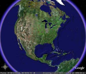 An image of earth using the Google Earth program