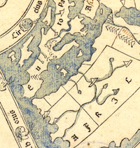 Detail of map from Pomponius Mela's Cosmographi geographia printed in 1482.  Please click to view entire image.
