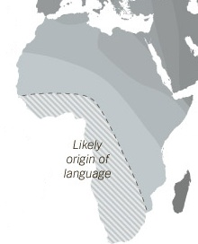 <p>Map showing origin and spread of language from southern Africa.&nbsp; Graphic from the journal Science and the New York Times.</p>