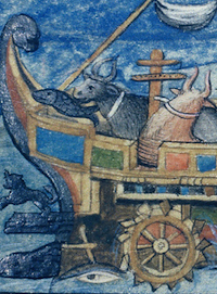 Detail of image from De rebus bellicis showing fanciful ox-powered wheel boat.  Please click to view entire image.