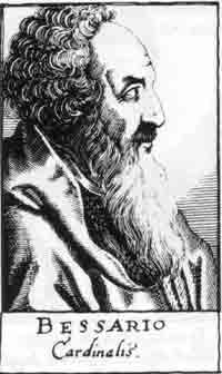 <p>Wood engraved portrait of Cardinal Basilios Bessarion from the <em>Bibliotheca chalcographica.</em></p>