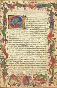 The first page of a manuscript of De oratore by Cicero, written and illuminated in Northern Italy in the 15th century, and preserved in the British Library