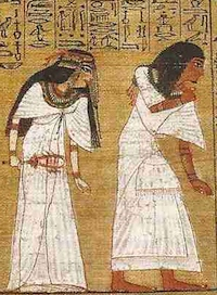 Detail from the Papyrus of Ani, showing Ani and his wife entering at left.  Please click to see complete image.