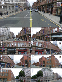 Google Street View image of St Johns Street in Manchester UK showing 8 different possible views