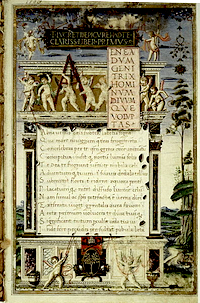 Architectural frontispiece of the illuminated manuscript of De rerum natura produced in 1483 by Girolamo di Matteo de Tauris for Pope Sixtus IV. The Pope's arms are at the foot of the page.