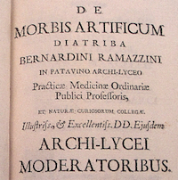 Title page from De morbis artificium diatriba.
