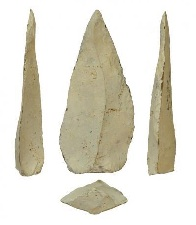 <p>Example of nearly 500,000 year-old hafted spear tips from Kathu Pan 1. Photo by Jayne Wilkins.</p>