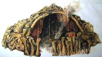 Artist rendition of dwelling in Mezhirich, Poland, made of mammoth bones.  Source: Dolní Věstonice Museum. (Click on image to view larger.)