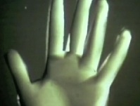 Screen capture of Ed Catmull's left hand - from the world's first ever 3D rendered movie created in 1972 by Ed Catmull and Fred Park.