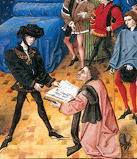 Detail of painting showing presentation by Jean Miélot to