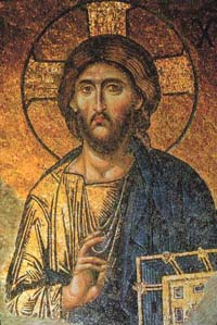 A mosaic of Jesus Christ, located in the Hagia Sophia.