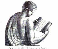 Figure nine from Clark's 'The Care of Books,' depicting a Roman reader with his scroll. (View Larger)