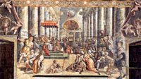 A depiction of the Donation of Constantine in the Apostolic Palace, Vatican City, by an artist of Raphael's studio. (View Larger)