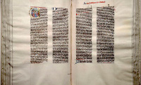 The Giant Bible of Mainz, copied by hand in large characters as to be read from a lectern, shares many artistic characteristics with the Gutenberg Bible, and may haver served as a model for it. (View Larger)