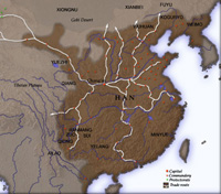 A map of Eastern China, the territories of the Han Dynasty highlighted in dark brown.