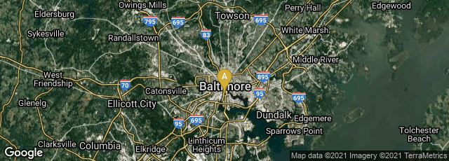 Detail map of Baltimore, Maryland, United States
