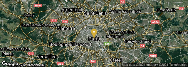 Detail map of Paris, Île-de-France, France